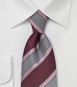 Aged Merlot and Rose Striped Tie