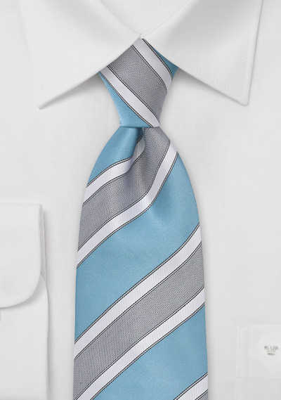 Extra Long Striped Tie in Adriatic Blue
