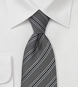 Dark Charcoal Tie with Black Stripes