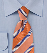 Tangerine Orange and Blue Striped Tie