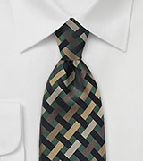 Art Deco Tie in Greens and Golds