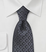 Geometric Diamond Tie in Pewter and Black