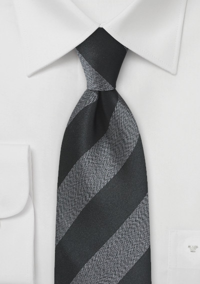 Retro Striped Tie in Black and Charcoal