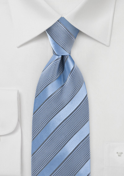 Periwinkle Tie with Silver Stripes