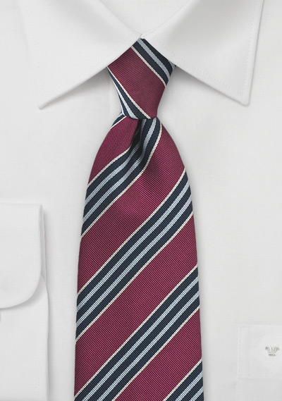 Regimental Tie in Vintage Burgundy