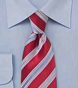 Striped Tie in Red and Blue