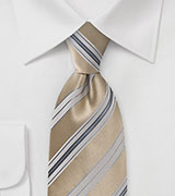Striped Tie in Soft Tans and Silvers