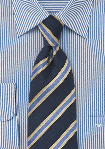 Classic Striped Tie in Navy and Yellow