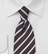 Dark Chocolate Striped Tie in Striped Style