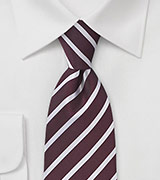Crimson Red Tie with Light Silver Stripes