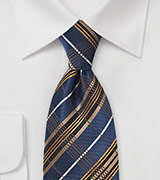 Graphic Plaid in Navy and Egyptian Gold
