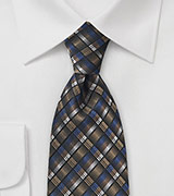 Modern Grid Patterned Tie in Gold, Blue and Black