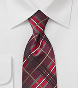 Plaid Tie in Reds and Burgundies