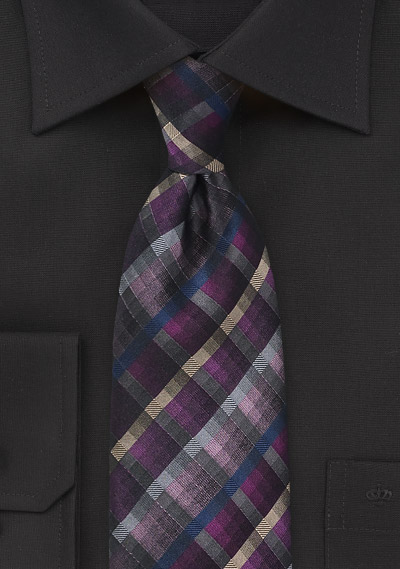 Purple, Pink, Gray Checkered Tie