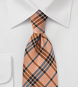 Graphic Tangerine Plaid Tie