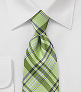 Lime Green Plaid Tie with Lilac Accents