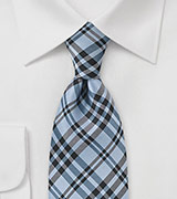 Modern Plaid Tie in Sky Blue