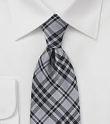 XL Length Plaid Tie in Black and Charcoal