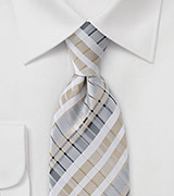Geometrically Striped Tie in Greys and Vintage Linen