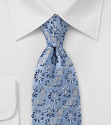 Vintage Blue Tie with Flowers