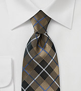 Tartan Check Tie in Golden Brown Made from Pure Silk