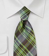 Modern Plaid Tie in Greens and Browns