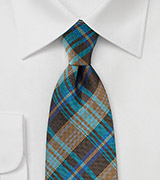 Large Plaid Necktie in Coppers, Browns and Teals