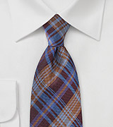 Modern Plaid Tie in Burgundy and Rust