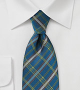 Men's Plaid Tie in Peacock and Browns