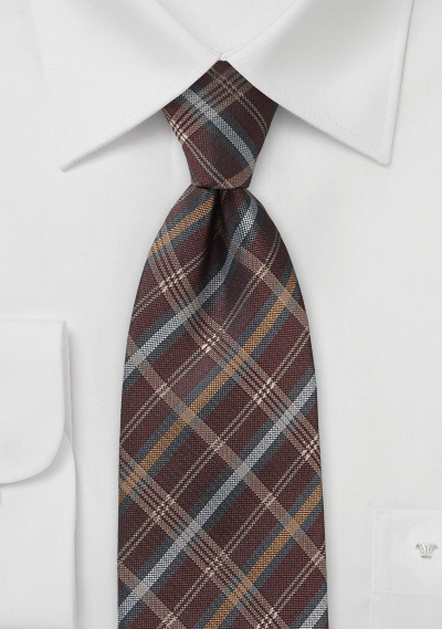 Tartan Check Necktie in Burgundy