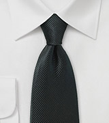 Jet Black Necktie with Sharp Ribbed Texture