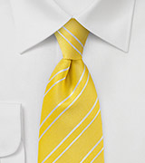 Fresh Neon Yellow and White Striped Tie