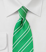 Punchy Grass Green Striped Tie