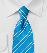 Mermaid Blue and White Striped Tie