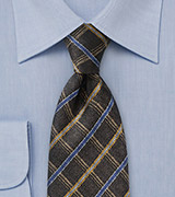 Choclate Brown Checked Necktie with Blue and Gold Accents