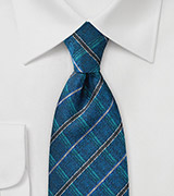 Modern Plaid Tie in Teals and Browns