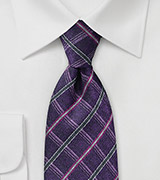 Violet Check Tie in Pure Silk