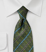 Men's Plaid Style Necktie in Green