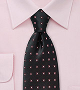 Formal Black Patterned Tie in Silk
