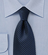 Midnight Blue Checked Necktie
