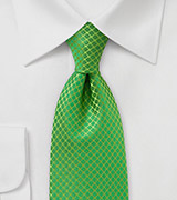 XL Length Art Deco Tie in Bright Kelly Green