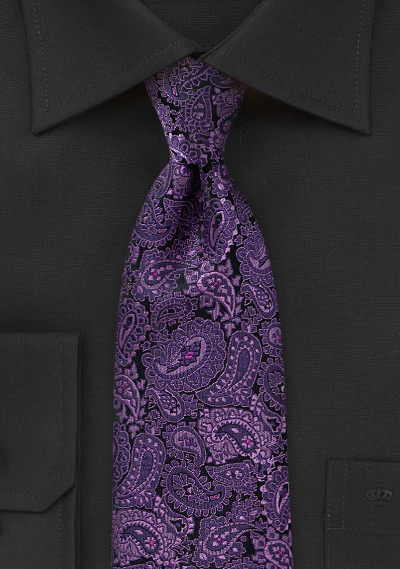 Violet and Lilac Colored Paisley Tie