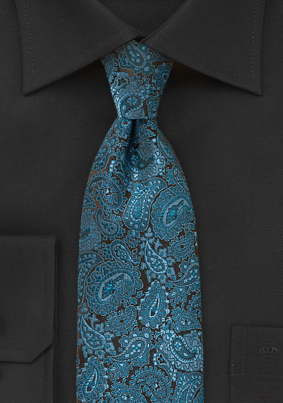 Luxe Paisley Silk Tie in Teal and Black