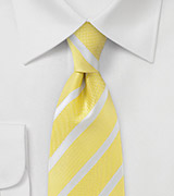 Striped and Textured Tie in Yellow and White