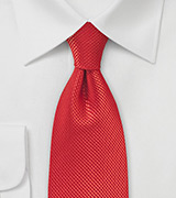 Bright Red Textured Silk Tie in XL