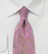 Vintage Themed Paisley Silk Tie in Fuchsia