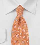 Silk Tie in Orange Sunset with Unique Floral Pattern