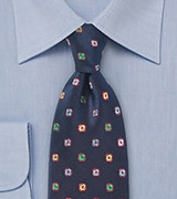 Dark Navy Silk Tie with Woven Flowers