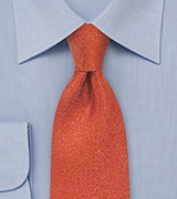 Autumn Orange Textured Silk Tie