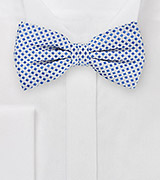 Square Pattered Bow Tie in Silvers and Blues